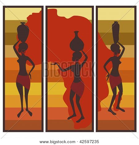 Triptych of african american woman