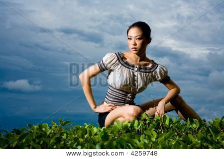 Outdoor Scene Of Asian Young Woman