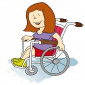 Handicapped girl. A handicapped woman in a Wheelchair.