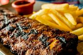 stock photo of ribs  - Grilled steak  - JPG