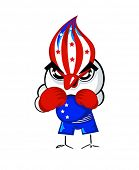 foto of game-cock  - Patriotic boxing bird in USA national flag colors - JPG