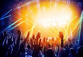 stock photo of crowd  - Photo of young people having fun at rock concert - JPG