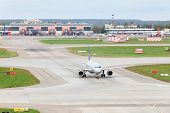 MOSCOW - SEP 22: Airbus A320 prepares for take-off in Sheremetyevo airport, Sep 22, 2011 Moscow, Rus
