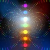 stock photo of senses  - cosmic energy abstract background with rainbow corcles - JPG