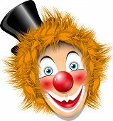picture of clown face  - illustration redheaded clown face in black hat - JPG