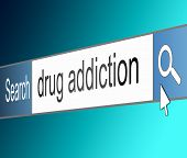 stock photo of opiate  - Illustration depicting a screen shot of an internet search bar containing a drug addiction concept - JPG