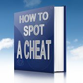 stock photo of rogue  - Illustration depicting a text book with a cheating concept title - JPG