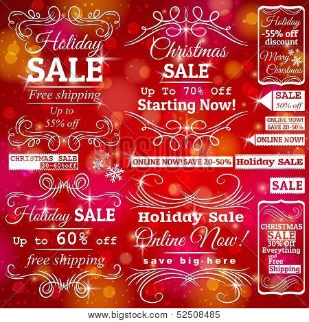 Set Of Special Sale  Labels And Banners And Red Christmas Background