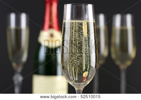 Champagne With Bubbles In A Glass