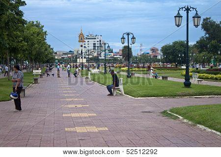 People in park in Pnom Penh