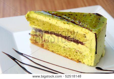 Delicious green cake.