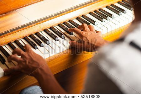 A Man Playing Piano, Closeup Shot