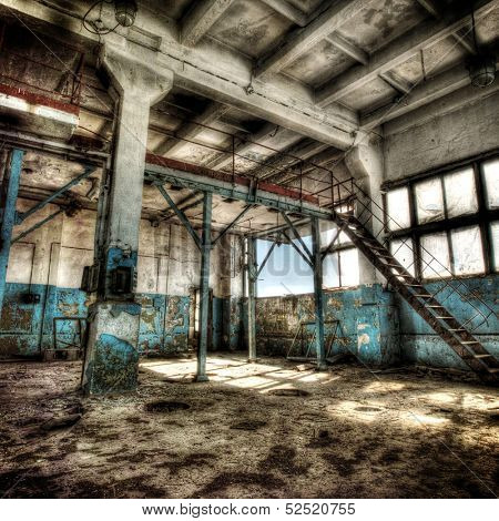 Old abandoned factory, indoors