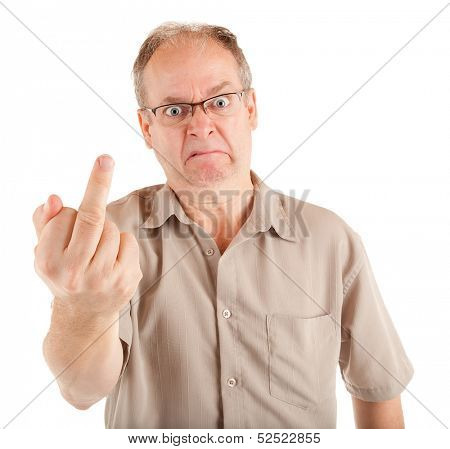 Grumpy Man Giving the Middle Finger