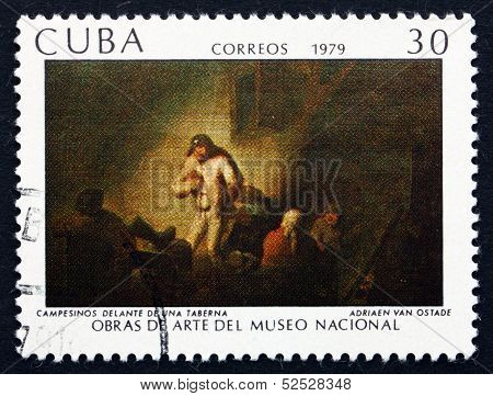 Postage Stamp Cuba 1979 Peasants In Front Of A Tavern