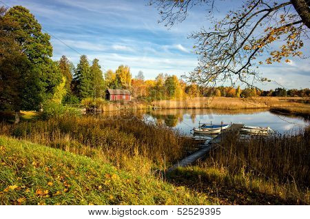 Autumn by Lake Sottern in Sweden