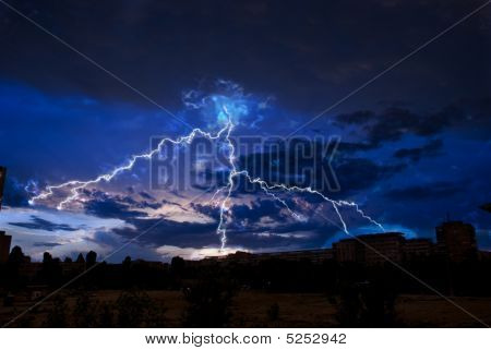 Lightning Over City