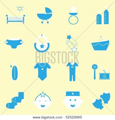 Baby Blue Color Icons Set