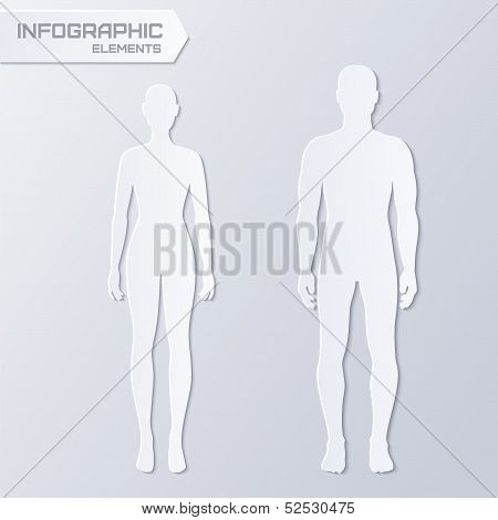 Cut-out paper male and female silhouettes