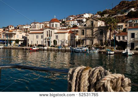 HYDRA, GREECE - SEP 25: View of Hydra town in Sep 25, 2012 in Hydra, Greece. Hydra island 20.1 sq mi, pop 1900 was and is one of the major centers of artistic creation, the island hosted many artists.
