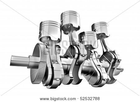 Engine Pistons And Cog On White Background. 3D Image.