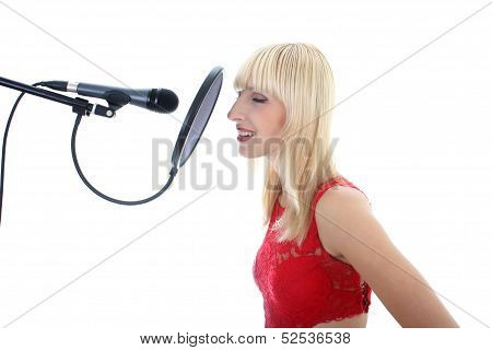 singing woman isolated on white background