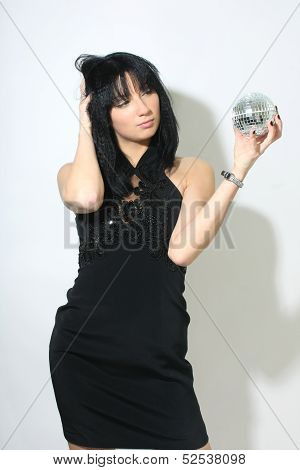 Beautiful Woman With Discoball In Hand