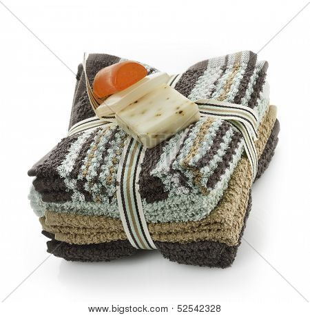 Soap Bars On A Washcloth On White Background