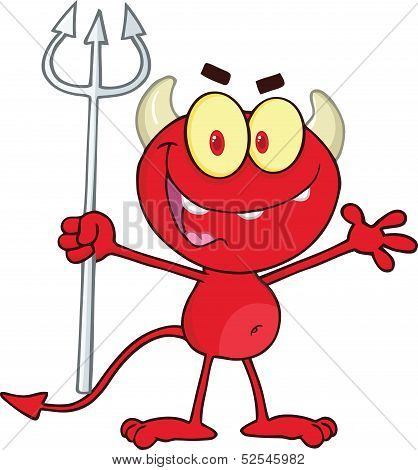 Cute Little Red Devil Holding Up A Pitchfork