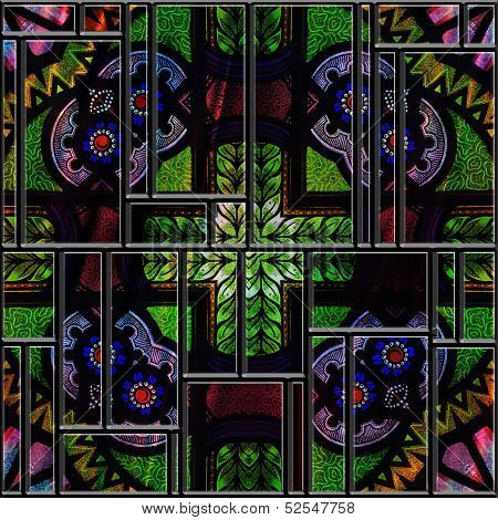 Seamless Textured Stained Medieval Pattern Glass Panel