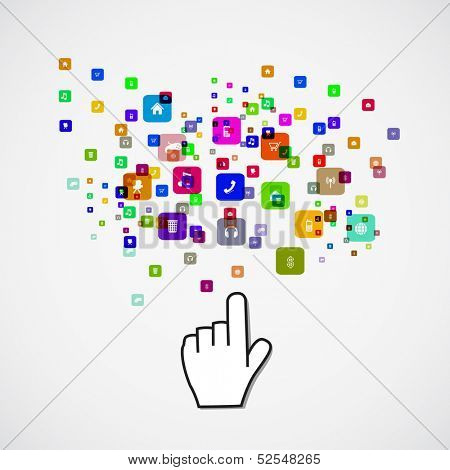 Pointing hand with icon, paper sticker concept vector