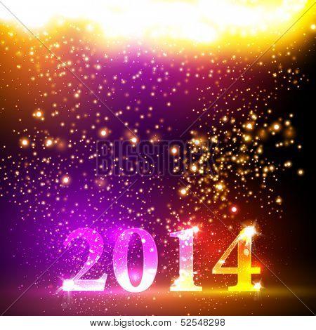Happy new year 2014 colorful celebration vector design, easy editable