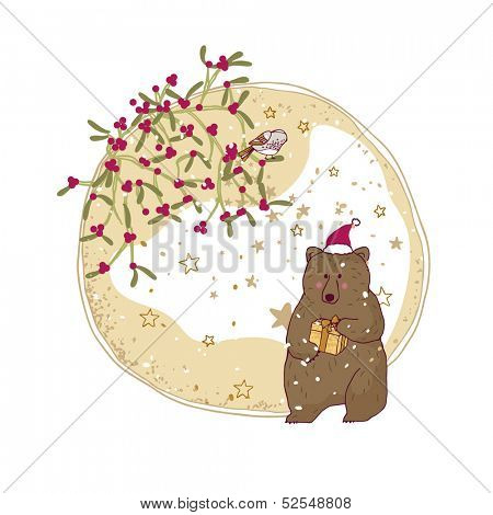 winter holiday card with bear