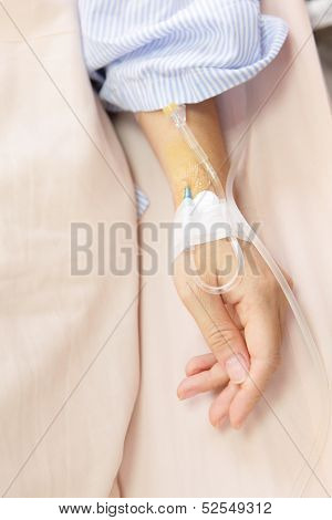 Patient's Hand With An Intravenous Drip Before Surgery