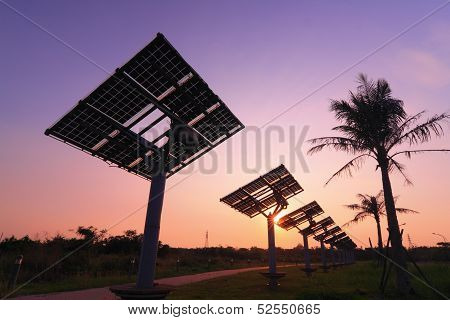 Solar Panel Silhouette With Very Beautiful Sunset