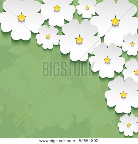 Vintage Floral Green Background With 3D Flower Sakura
