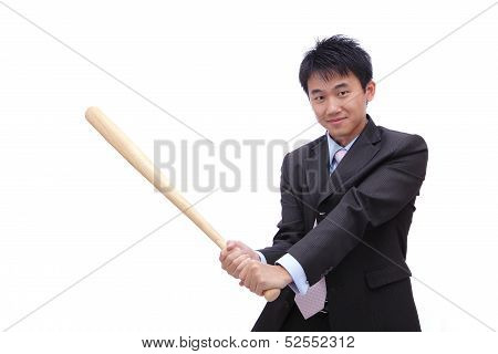Business Man Holding Baseball Bat