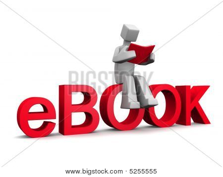 3D Man Sitting On Ebook Word Reading A Red Book