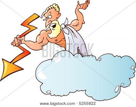 Greek God Zeus With Lighting