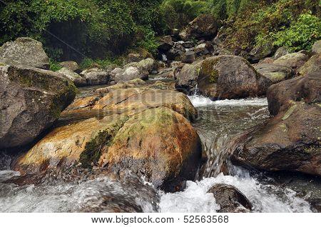 Water Flowing Through Rocks, Reshi River, Reshikhola, Sikkim