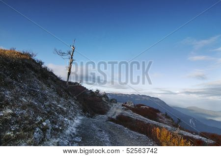 Snowy Road At Lungthang Viewpoint In The Morning , Sikkim