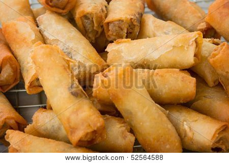 Spring Rolls On The Market Close Up