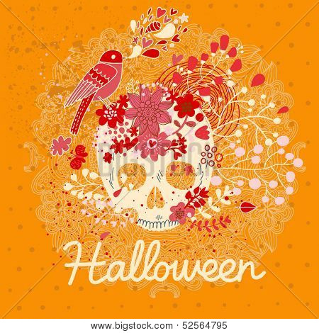 Bright Halloween card in vector. Stylish holiday composition with scull, bird and flowers in vintage style