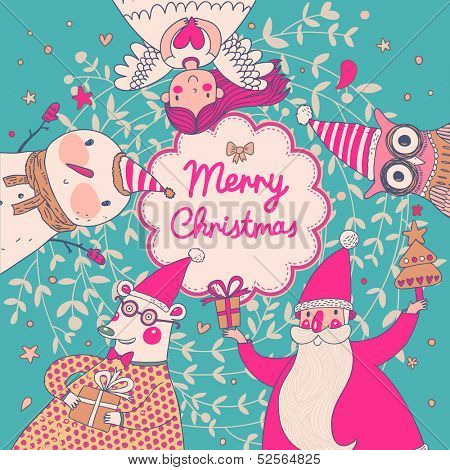 Stylish vector Merry Christmas card in bright colors. Cute Santa Claus, Funny Bear in glasses, sweet Snowman, lovely Angel and nice Owl in cartoon childish holiday card