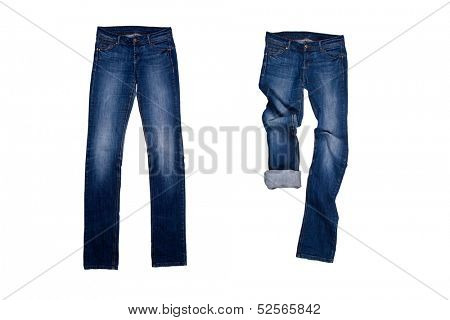 two blue jeans isolated on the white background