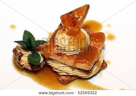 Dessert on white plate