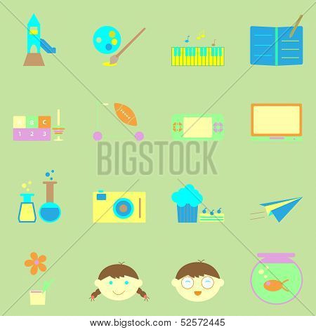Kid Activities Color Icons Set