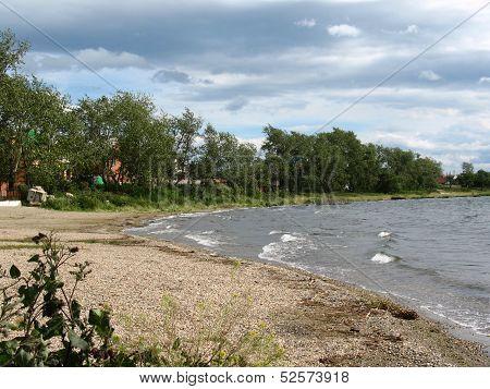 Lake, Plants And Bank