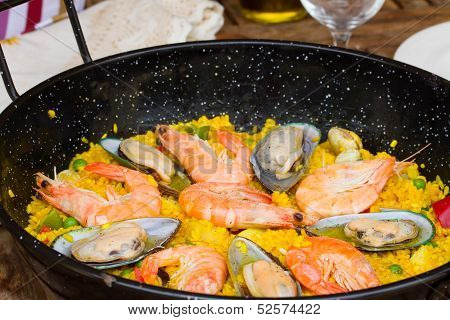 Paella close up -traditional spanish dish