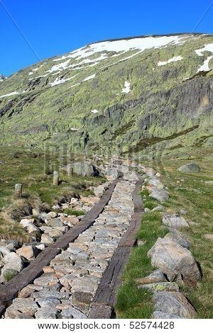 A trekker on top of the Mountain,Gredo,Spai n